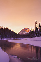Castle Mountain and the Bow River at sunset, Banff National Park, Alberta, Canada