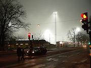 Ljusflöde över Zinkens IP på Södermalm.