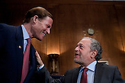 """Senator RICHARD BLUMENTHAL (D-CT) greets former U.S. Secretary of Labor ROBERT REICH during a Senate Health, Education, Labor and Pensions Committee hearing on """"The Endangered Middle Class: Is the American Dream Slipping Out of Reach for American Families?"""""""