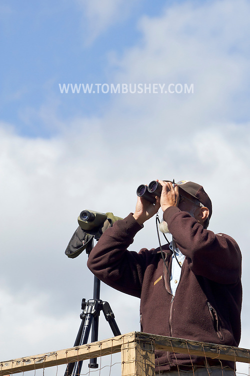 Warwick, New York - Birders use binoculars to view migrating hawks on the viewing platform at the Mount Peter Hawk Trailway  on Sept. 15, 2012. The area is located on a high point along the Bellvale Mountain Ridge and is the third oldest hawk watch in the country. Records of migrating raptor species and their populations passing through the area have been kept for over 50 years.