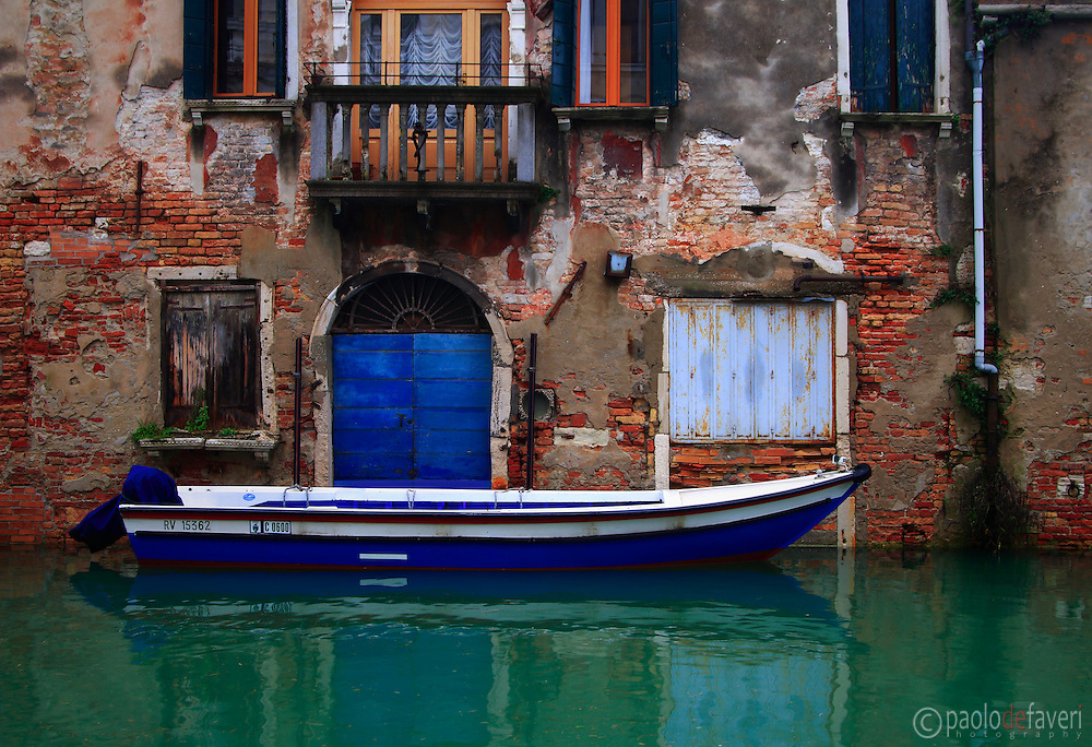 Small houses on Rio della Sensa, a canal in the Sestiere of Cannaregio in Venice, Italy