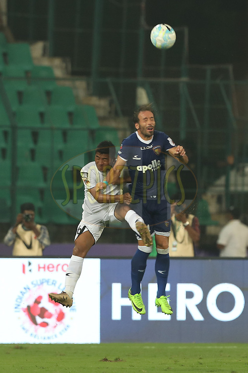 Inigo Calderon  of Chennaiyin FC during match 6 of the Hero Indian Super League between Chennaiyin FC and NorthEast United FC held at the Jawaharlal Nehru Stadium, Chennai, India on the 23rd November 2017<br /> <br /> Photo by: Ron Gaunt / ISL / SPORTZPICS