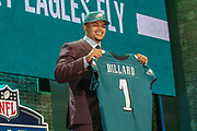 Apr 25, 2019; Nashville, TN, USA; Washington State tackle Andre Dillard after being selected as the No. 22 pick of the first round by the Philadelphia Eagles during the 2019 NFL Draft. (Kim Hukari/Image of Sport)
