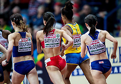 Olena Sidorska of Ukraine, Daryia Barysevich of Belarus, Sarah McDonald of Great Britain compete in the Women's 1500 metres heats on day one of the 2017 European Athletics Indoor Championships at the Kombank Arena on March 3, 2017 in Belgrade, Serbia. Photo by Vid Ponikvar / Sportida