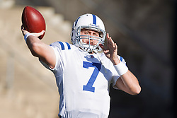 December 26, 2010; Oakland, CA, USA;  Indianapolis Colts quarterback Curtis Painter (7) warms up before the game against the Oakland Raiders at Oakland-Alameda County Coliseum. Indianapolis defeated Oakland 31-26.