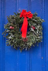 Christmas Wreath on a blue door in New York City