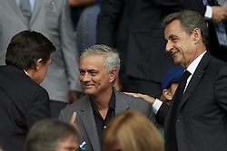 June 28, 2019 - Paris, France - Jose Mourinho talks with former French President Nicolas Sarkozy during the 2019 FIFA Women's World Cup France Quarter Final match between France and USA at Parc des Princes on June 28, 2019 in Paris, France. (Credit Image: © Jose Breton/NurPhoto via ZUMA Press)