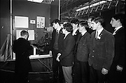 03/01/1967.01/03/1967.3rd January 1967.The third annual Aer Lingus Young Scientist Exhibition at the RDS..Robert Aeton of Colaiste Iognaid Gaillimh explains his exhibit 'The Evolution of Man' to some pupils from the Christian Brothers School Mullingar. (L-R) Seamus O Buachalla, Daithi O Cearnaigh, Michael O Murcha, Geral O Gillain, Fr P.U O'Neill, Ciaran Milner and Diarmuid O Cearnaigh
