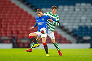 Joshua McPake (#11) of Rangers FC holds the ball up from Barry Coffey (#8) of Celtic FC during the Scottish FA Youth Cup Final match between Celtic and Rangers at Hampden Park, Glasgow, United Kingdom on 25 April 2019.