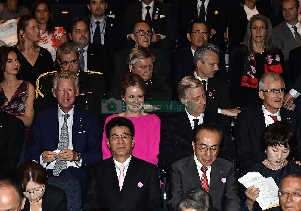 October 14, 2016 - Osaka, JAPAN - State Secretary for Foreign Trade Pieter De Crem, Queen Mathilde of Belgium, King Philippe - Filip of Belgium, State Minister Willy Claes and Flemish Minister-President Geert Bourgeois pictured during a concert 'Japan and Belgium, one in music' in the Knowledge Theater Osaka, on day five of a state visit to Japan of the Belgian Royals, Friday 14 October 2016, in Osaka, Japan. BELGA PHOTO ERIC LALMAND (Credit Image: © Eric Lalmand/Belga via ZUMA Press)
