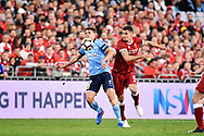 May 24, 2017: Sydney FC George Blackwood (19) and Liverpool FC player Dejan Lovren (6) battle for the ball at the soccer match, between English Premiere League team Liverpool FC and Sydney FC, played at ANZ Stadium in Sydney, NSW Australia.