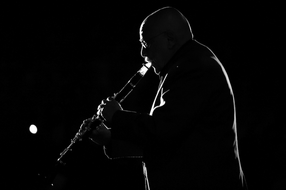 Clarinetist Giora Feidman performing live during the Gala concert at the ZMF music festival in Freiburg, Germany on July 7, 2013. Photo: Miroslav Dakov