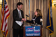 CHARLESTON, SC - FEBRUARY 01:  Elizabeth Colbert Busch, sister of comedian Stephen Colbert, shakes hands with Martin Skelly after he withdrew from the democrat primary for the 1st Congressional District and gave his support to Colbert Busch on February 11, 2013 in Charleston, South Carolina. The special election will be held in May to replace Rep. Tim Scott who filled the open Senate seat vacated by Senator Jim DeMint.  (photo by Richard Ellis/Getty Images)