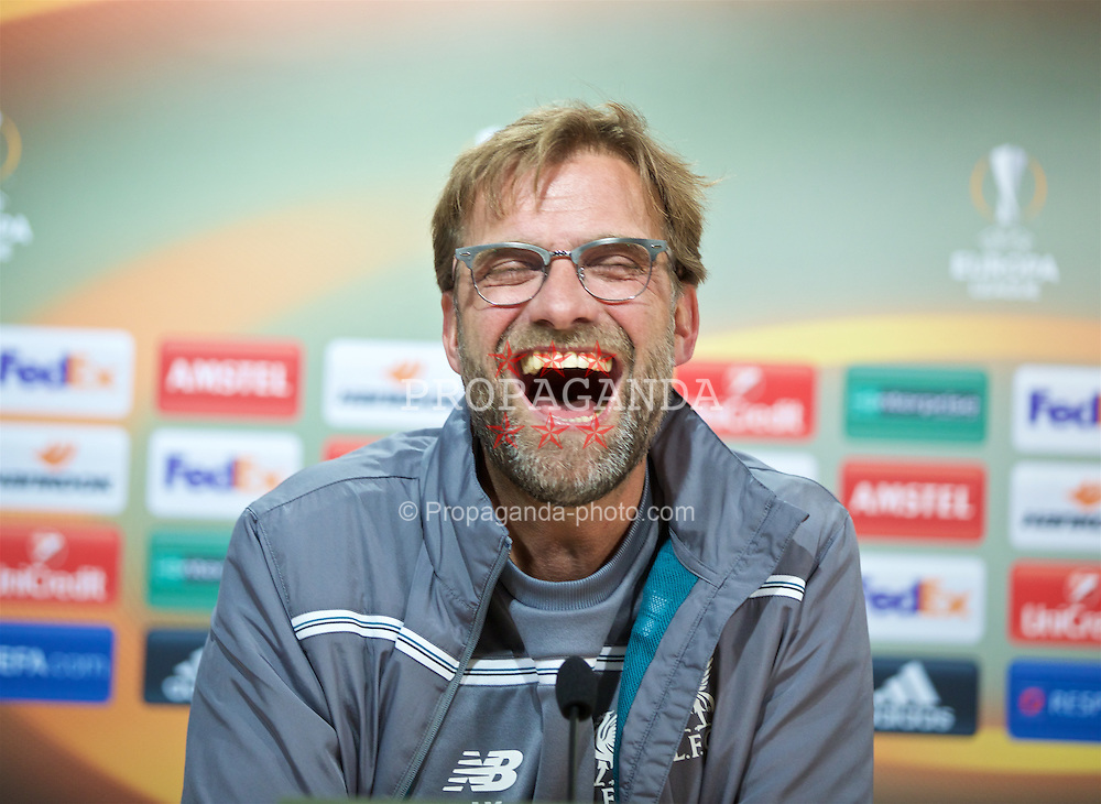 VILLRREAL, SPAIN - Wednesday, April 27, 2016: Liverpool's manager Jürgen Klopp during a press conference ahead of the UEFA Europa League Semi-Final 1st Leg match against Villarreal CF at Estadio El Madrigal. (Pic by David Rawcliffe/Propaganda)