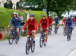 ROTTACH-EGERN, GERMANY - Thursday, July 27, 2017: Liverpool's Adam Lallana and Dejan Lovren cycle to training from the Seehotel Uberfahrt on the banks of Lake Tegernsee on day two of their preseason training camp in Germany. (Pic by David Rawcliffe/Propaganda)