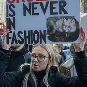 Hundreds of animals activists protest against London Fashion Week against the cruelly of fur fashion on 17 Feb 2018 at 180 Strand, London, UK