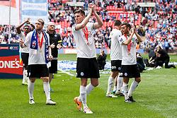 Peterborough Goalscorer Shaun Brisley (ENG) celebrates after a 3-1 win - Photo mandatory by-line: Rogan Thomson/JMP - 07966 386802 - 30/03/2014 - SPORT - FOOTBALL - Wembley Stadium, London - Chesterfield FC v Peterborough United - Johnstone's Paint Trophy Final.