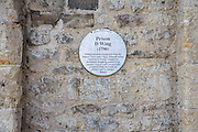Oxford Preservation Trust sign on a stone wall marking Prison D Wing of the old Prison which initially was a medal castle and has now been converted into Malmaison Hotel. William Blackburn designed the prison D Wing in 1790. (photo by Andrew Aitchison / In pictures via Getty Images)