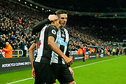Isaac Hayden (#14) of Newcastle United celebrates Newcastle United's first goal (1-0) with Ciaran Clark (#2) of Newcastle United during the Premier League match between Newcastle United and Chelsea at St. James's Park, Newcastle, England on 18 January 2020.