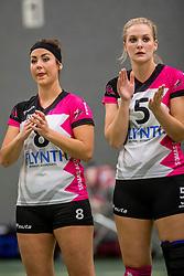22-10-2016 NED: Springendal/Set Up`65 - Flynth Flamingo's Activia, Ootmarsum<br /> In Ootmarsum was Set-Up'65 in vier sets te sterk voor Fast. In de eerste drie sets was het verschil minimaal (25-23, 23-25, 26-24) / Lynn Blenckers #5 of Flamingo, Shannon Gerhardt #8 of Flamingo
