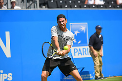 June 19, 2017 - London, United Kingdom - Adrian Mannarino (FRA) in the first round of 2017 AEGON Championships at Queen's Club, London on June 18, 2017. (Credit Image: © Alberto Pezzali/NurPhoto via ZUMA Press)