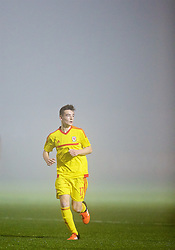 NEWPORT, WALES - Sunday, November 1, 2015: Wales' Dylan Levitt is shrouded in fog during the Under-16's Victory Shield International match against Scotland at Dragon Park. (Pic by David Rawcliffe/Propaganda)