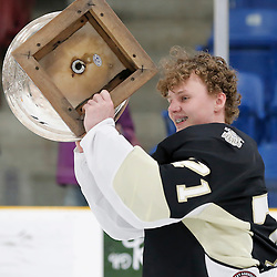 TRENTON, ON  - MAY 6,  2017: Canadian Junior Hockey League, Central Canadian Jr. &quot;A&quot; Championship. The Dudley Hewitt Cup Championship Game between The Trenton Golden Hawks and The Georgetown Raiders. During post game celebrations. <br /> (Photo by Amy Deroche / OJHL Images)