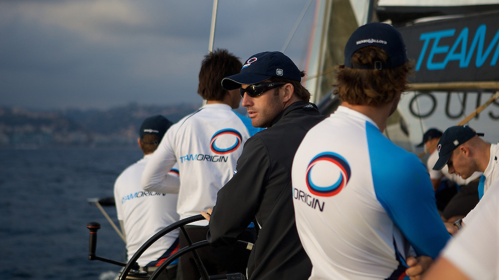 FRANCE, Nice, 28th October 2009, onboard GBR75, TEAMORIGIN, Ben Ainslie, Skipper.
