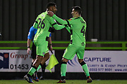 Forest Green Rovers Reuben Reid(26) scores a goal 1-1 and celebrates with Forest Green Rovers Lloyd James(4) during the EFL Sky Bet League 2 match between Forest Green Rovers and Mansfield Town at the New Lawn, Forest Green, United Kingdom on 29 January 2019.