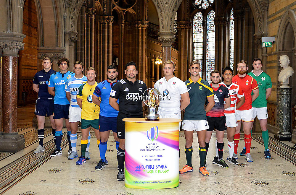 REPRO FREE***PRESS RELEASE NO REPRODUCTION FEE***<br /> 2016 World Rugby Under 20 Championship Launch, Manchester, England 4/6/2016<br /> Pictured today (L-R) Scott Cummings (Scotland), Davide Fragnito (Italy), Benito Paolucci (Argentina), James Tuttle (Australia), Cl&eacute;ment Castets (France), Leni Apisai (New Zealand), Jack Walker (England), Jeremy Ward (South Africa), Vasil Lobzhanidze (Georgia), Masato Furukawa (Japan), Tom Phillips (Wales), James Ryan (Ireland)<br /> Mandatory Credit &copy;INPHO/World Rugby