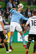 MELBOURNE, VIC - NOVEMBER 09: Melbourne City midfielder Dario Vidosic (10) headers the ball at the Hyundai A-League Round 4 soccer match between Melbourne City FC and Wellington Phoenix on November 09, 2018 at AAMI Park in Melbourne, Australia. (Photo by Speed Media/Icon Sportswire)