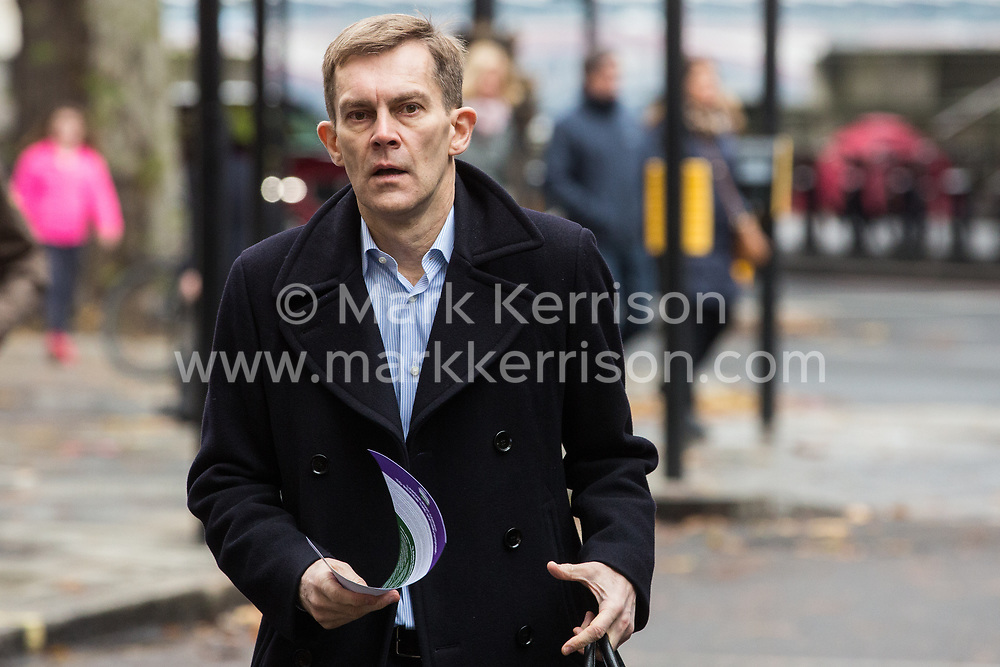 London, UK. 16 November, 2019. Seumas Milne, Executive Director of Strategy and Communications, arrives at Labour's Clause V meeting. The Clause V meeting, chaired by the party leader and attended by members of the National Executive Committee (NEC), relevant Shadow Cabinet members and members of the National Policy Forum, will finalise the party's general election manifesto. The meeting is named after Clause V of the Labour Party rulebook.
