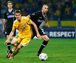 24.08.2011, UPC Arena, Graz, AUT, CL-Playoff, SK Sturm Graz vs. Bate Borisow, im Bild Patrick Wolf (SK Sturm Graz, #33, Midfield) und Edgar Olekhnovich (Bate Borisow, #23, Midfielder), EXPA Pictures © 2011, PhotoCredit: EXPA/ Erwin Scheriau