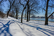 Snow, Riverside Park on the Upper West Side,  Manhattan, New York City, New York, USA designed by Frederick Law Olmsted