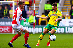 Ben Godfrey of Norwich City gets the ball away from Ben Wiles of Rotherham United - Mandatory by-line: Ryan Crockett/JMP - 16/03/2019 - FOOTBALL - Aesseal New York Stadium - Rotherham, England - Rotherham United v Norwich City - Sky Bet Championship