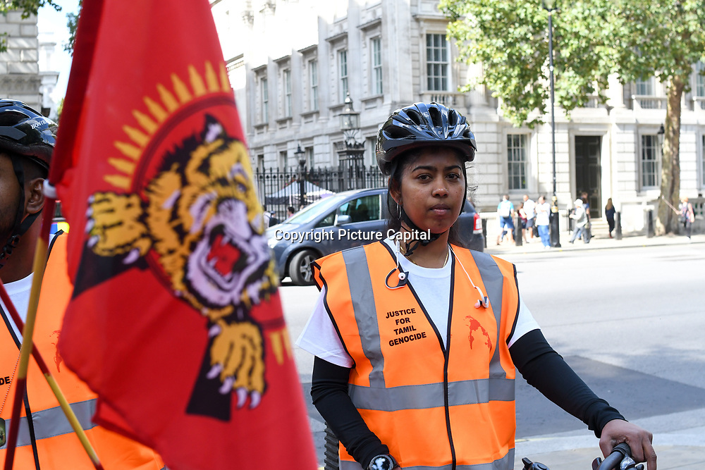 London, England, UK. 01 September 2018: 22 Sri Lankan Tamils cyclist living in the United Kingdom for a 17 Days bicycle marathon from London to Geneva, to highlight current plight of the Tamil people of the island of Sri Lanka, and to seek justice and solidarity for the Eelam Tamil people.