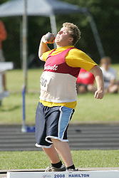 London, Ontario ---07/06/08--- \o\ competes in the Shot put at the 2008 OFSAA Track and Field meet in Hamilton, Ontario..Sean Burges