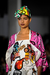 © Licensed to London News Pictures. 06/06/2018. LONDON, UK.  A model presents a look by Mojadesola Ayemobola from University of Northampton at the Best of Graduate Fashion Week 2018 show at the Old Truman Brewery in East London. The event presents the graduation show of up and coming fashion designers from UK and international universities.  Photo credit: Stephen Chung/LNP