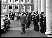 EEC Leaders Meet At Dublin Castle.   (N4)..1979..29.11.1979..11.29.1979..29th November 1979..At Dublin Castle the leaders of the countries within the EEC held a summit conference to discuss issues which would affect the EEC over the forthcoming years..Helmut Schmidt,the German Chancellor,is pictured arriving at the conference.