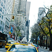 Yellow cabs in the jams on fifth avenue.