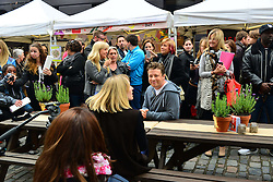 Jamie Oliver, during Jamie Oliver 's street party Food Revolution Day.  Kirstie Allsopp, Victoria Pendleton, join Oliver as he hosts street party outside his Shoreditch restaurant Fifteen, to celebrate Food Revolution Day, London, United Kingdom, May 17, 2013. Photo by: Nils Jorgensen / i-Images