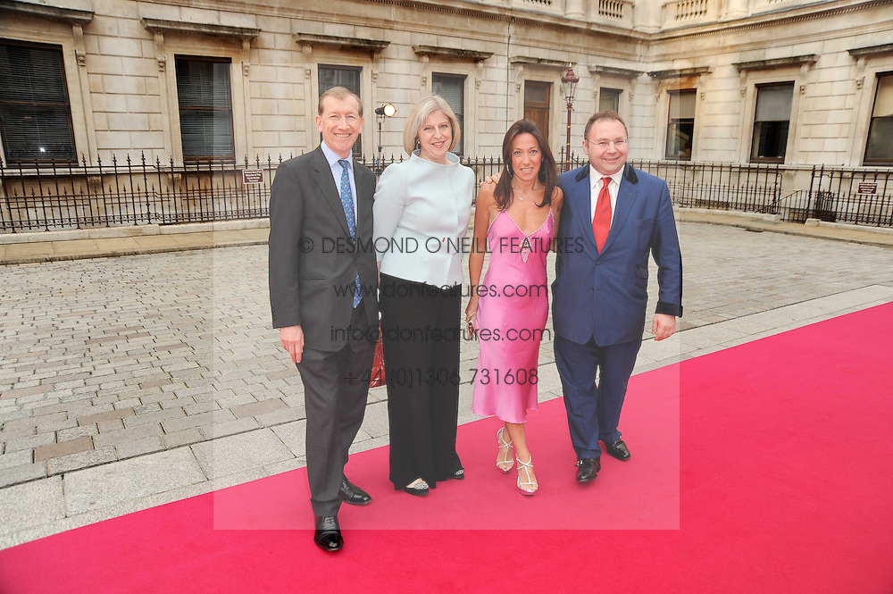 Left to right, PHILIP MAY, his wife The Home Secretary THERESA MAY MP, KATRINA SEDLEY and JONATHAN SHALIT at the Royal Academy of Arts Summer Party held at Burlington House, Piccadilly, London on 9th June 2010.