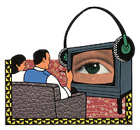 Clipart illustration of a couple, seated on a sofa, being watched by an eye in the television.