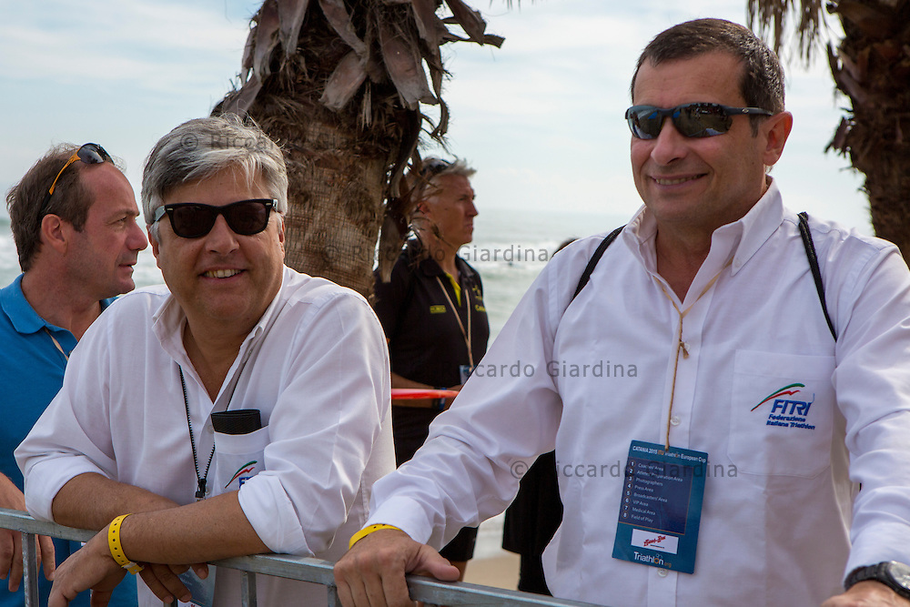 Catania (ITA), 25/10/15  - (form left) FITRI President Luigi Bianchi and Mediterranean Triathlon Federation Board member Aldo Lucarini at  2015 Catania Mediterranean Championships  (Ph. Riccardo Giardina)