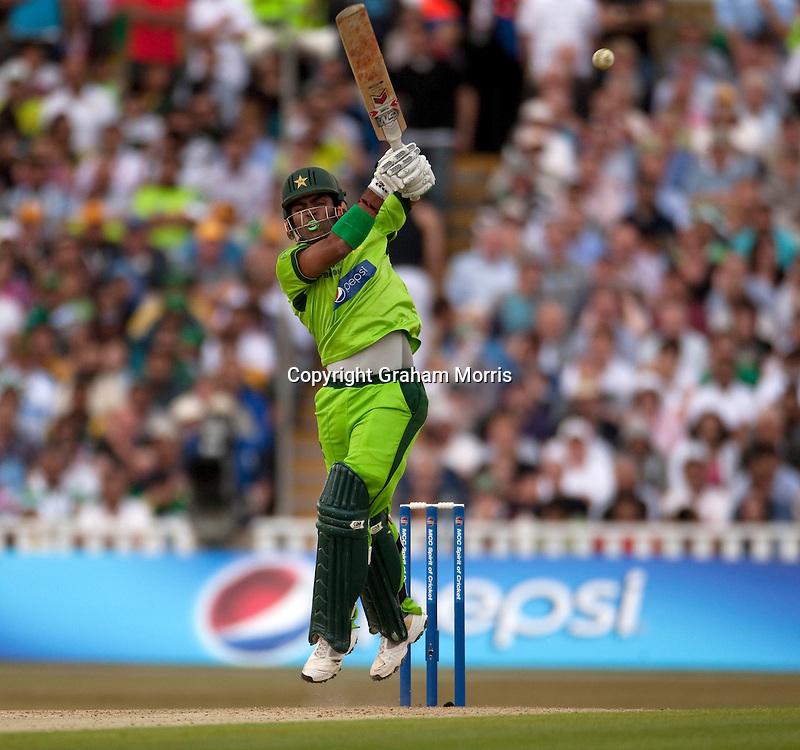 Umar Akmal bats during the first International T20 match between Australia and Pakistan at Edgbaston, Birmingham.  Photo: Graham Morris (Tel: +44(0)20 8969 4192 Email: sales@cricketpix.com) 05/07/10