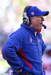 Dec 24, 2011; East Rutherford, NJ, USA; New York Giants head coach Tom Coughlin during the first half of their game against the New York Jets at MetLife Stadium.