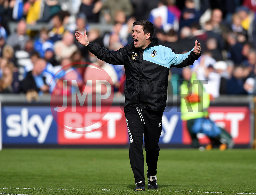 Bristol Rovers Manager Darrell Clarke celebrates on the final whistle  - Mandatory by-line: Joe Meredith/JMP - 23/04/2016 - FOOTBALL - Memorial Stadium - Bristol, England - Bristol Rovers v Exeter City - Sky Bet League Two