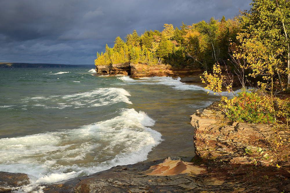 The sun appears after a stormy day on Lake Superior ~ near Au Train in Michigan's Upper Peninsula