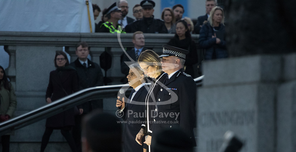 Trafalgar Square, London, March 23 2017. Thousands attend a vigil for the victims of the Westminster Bridge atrocity on Wednesday. PICTURED: Mayor of London Sadiq Khan, Home Secretary Amber Rudd and Deputy Commissioner Craig Mackey.