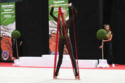 July 28, 2018 - Chieti, Abruzzo, Italy - Rhythmic gymnast Olena Diachenko of Ukraine performs her ribbon routine during the Rhythmic Gymnastics pre World Championship Italy-Ukraine-Germany at Palatricalle on 29th of July 2018 in Chieti Italy. (Credit Image: © Franco Romano/NurPhoto via ZUMA Press)